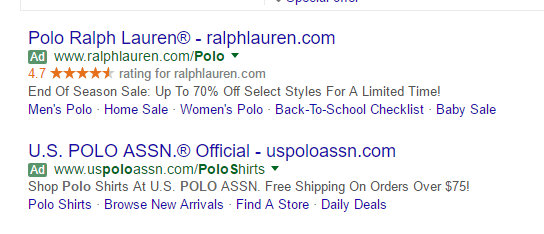 Dynamic Search Ad Exaple: Polos